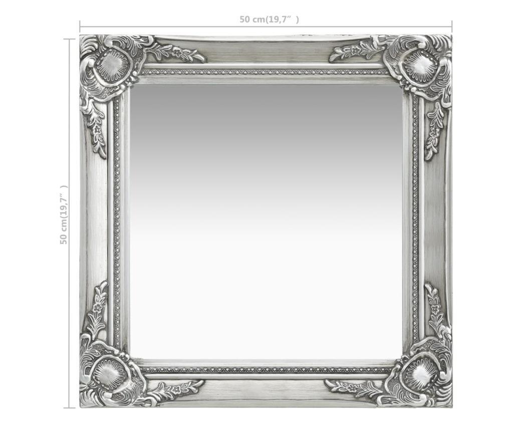 Lustro ścienne w stylu barokowym, 50x50 cm, srebrne