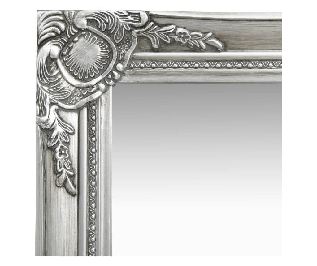 Lustro ścienne w stylu barokowym, 50x60 cm, srebrne