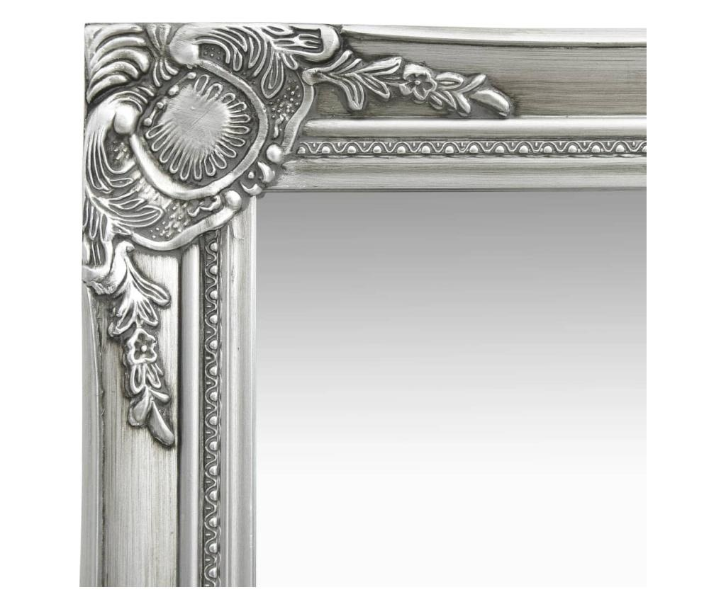 Lustro ścienne w stylu barokowym, 50x80 cm, srebrne
