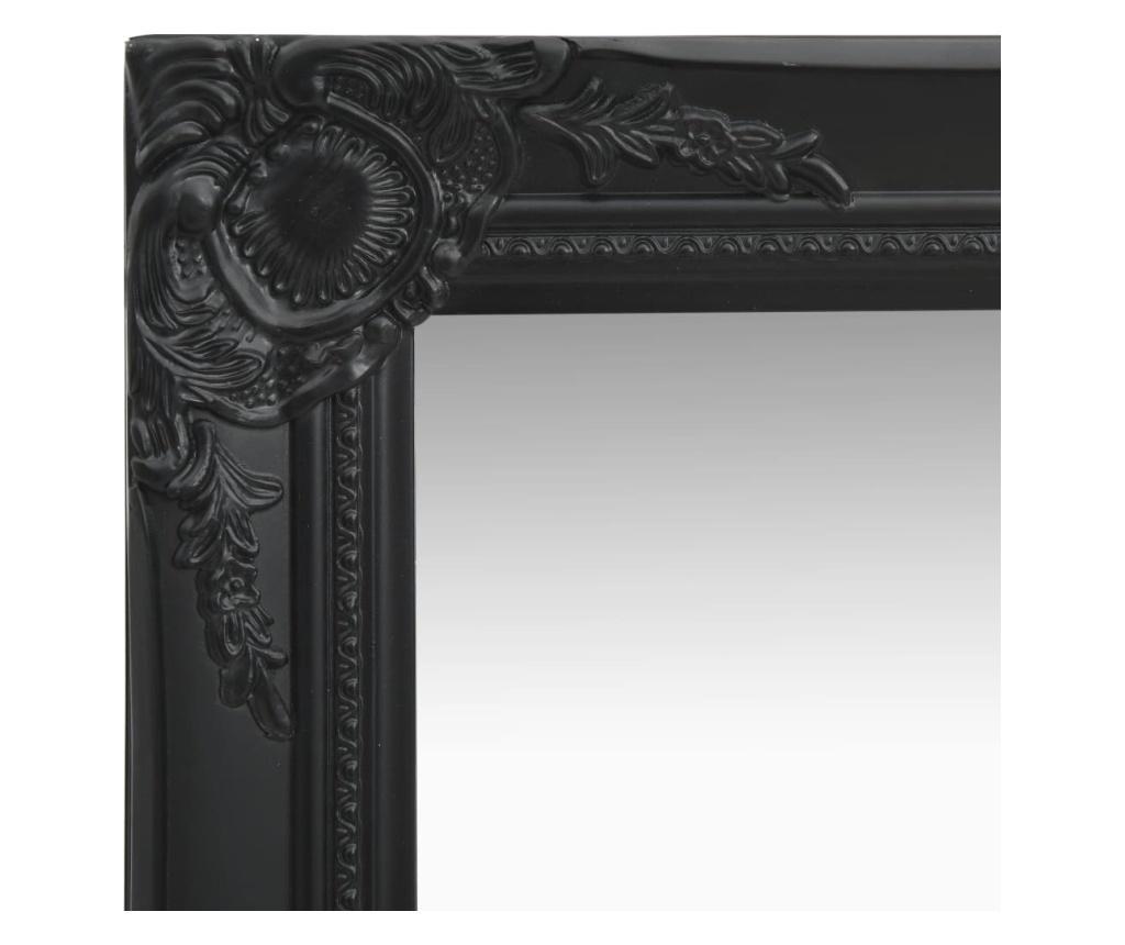 Lustro ścienne w stylu barokowym, 50x80 cm, czarne