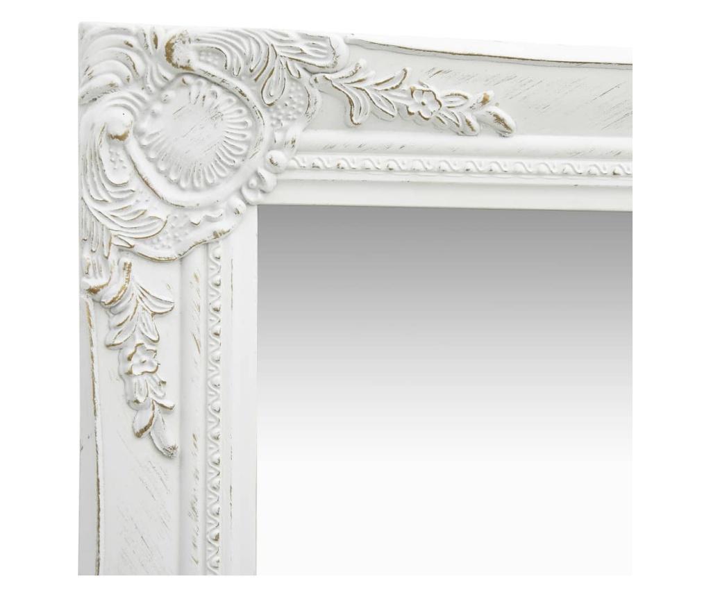 Lustro ścienne w stylu barokowym, 50x120 cm, białe