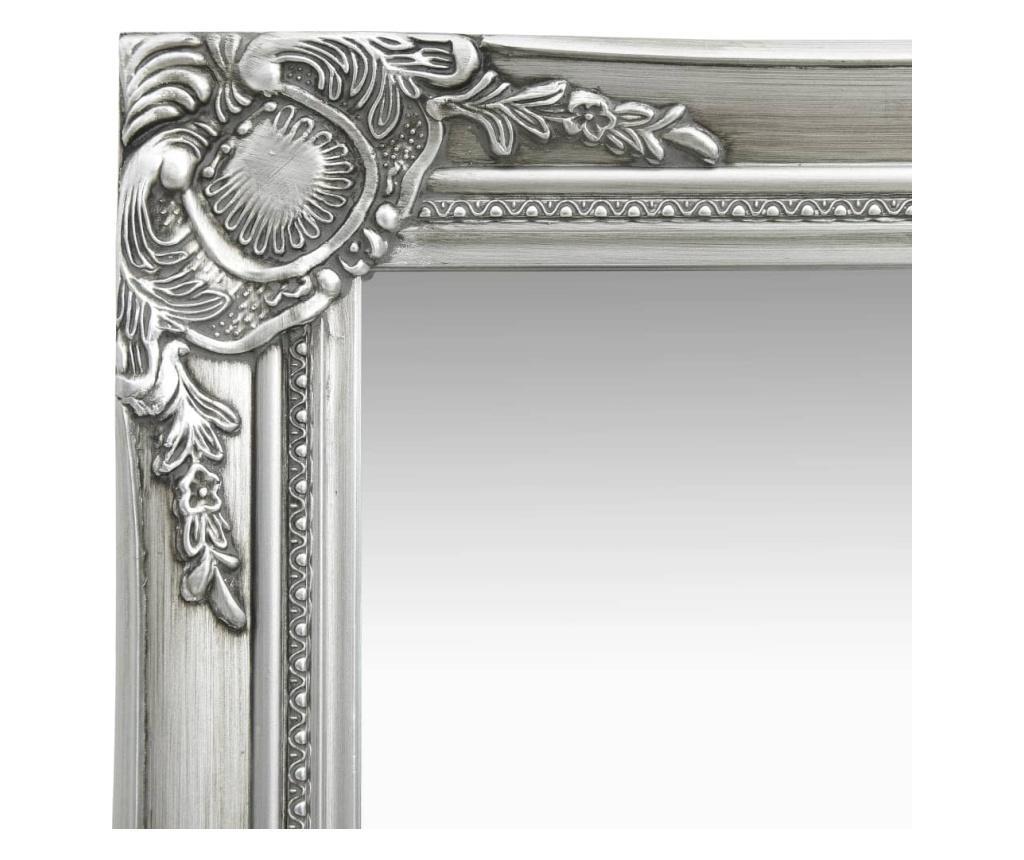 Lustro ścienne w stylu barokowym, 50x120 cm, srebrne