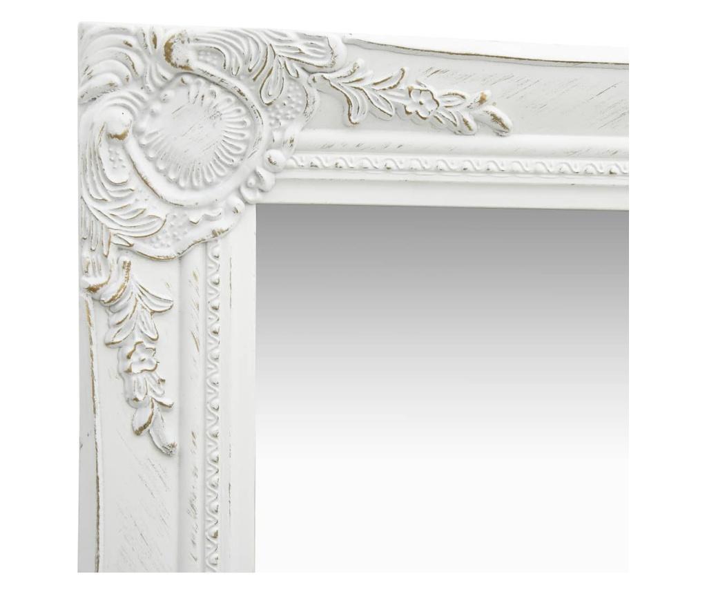 Lustro ścienne w stylu barokowym, 60x40 cm, białe