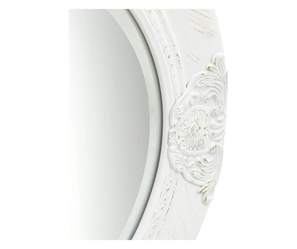 Lustro ścienne w stylu barokowym, 50 cm, białe