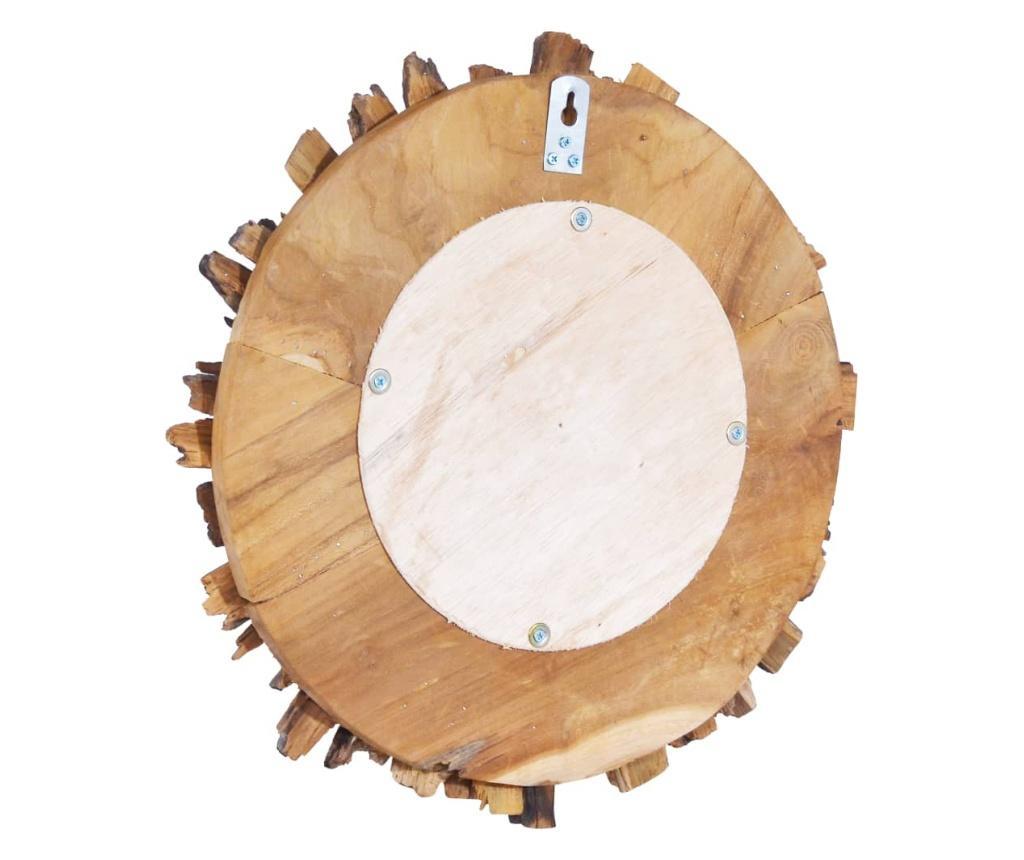 Lustro ścienne, 40 cm, drewno tekowe, okrągłe