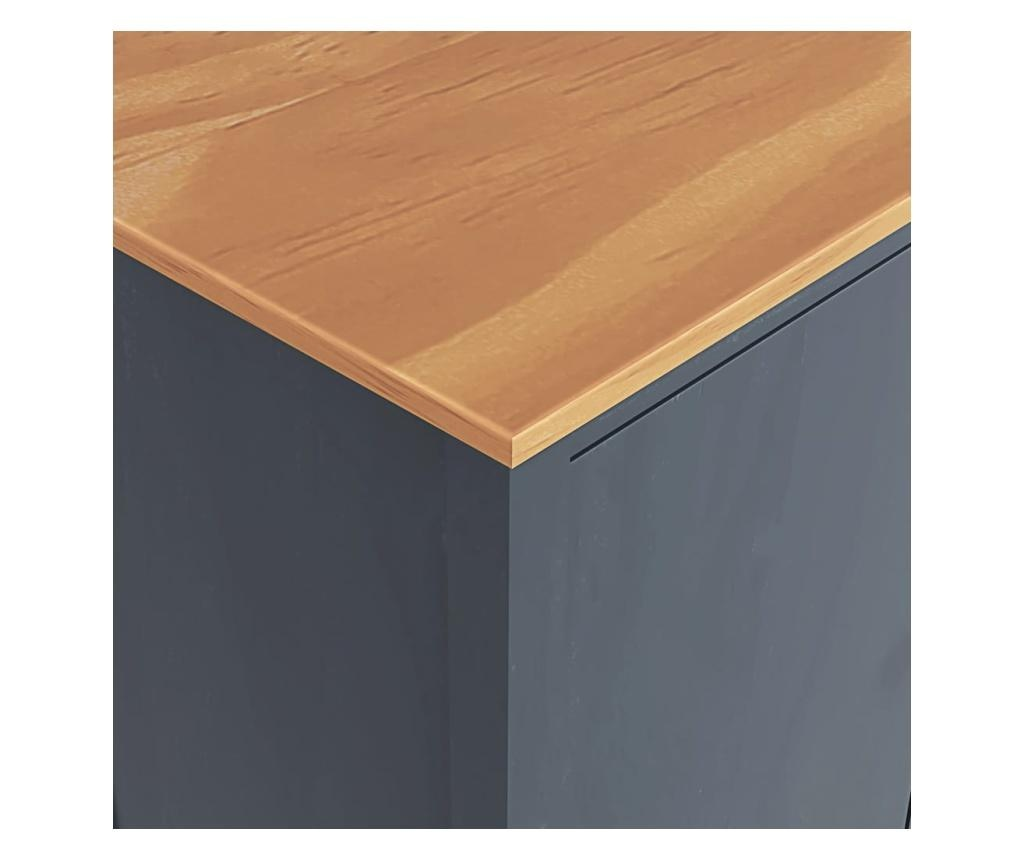 Sifonier cu 3 usi Hill Range, gri, 127x50x170 cm, lemn de pin