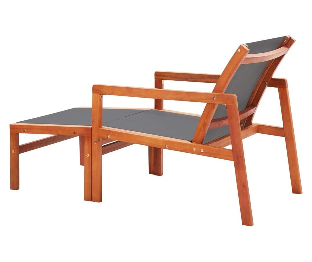 Krzesło ogrodowe z podnóżkiem, szare, eukaliptus i textilene