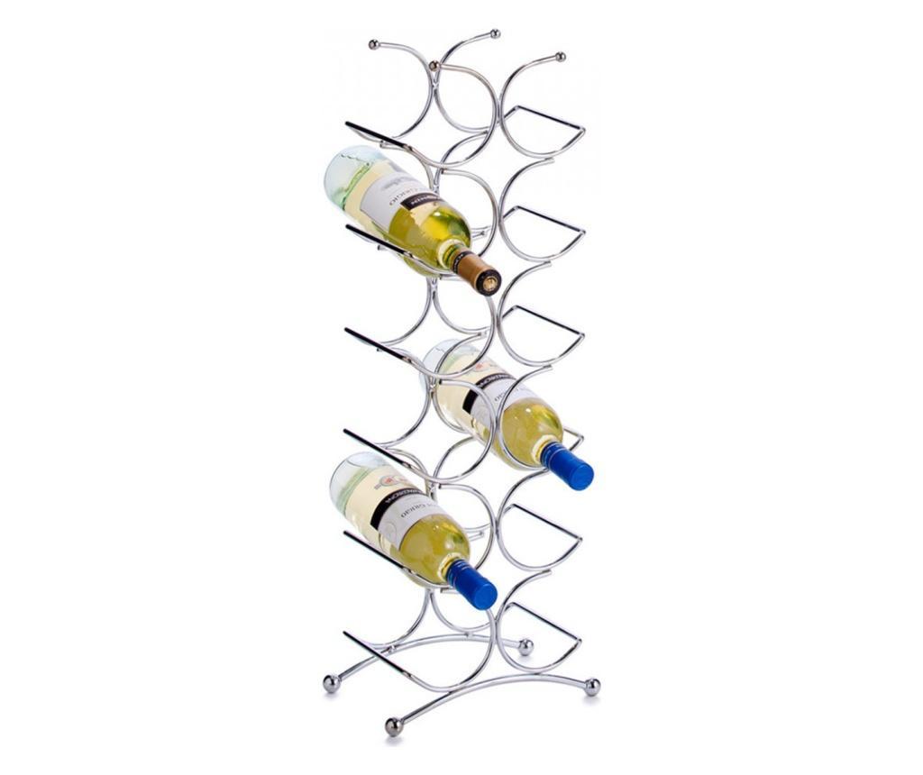Suport sticle vin Zeller Tower, din metal cromat