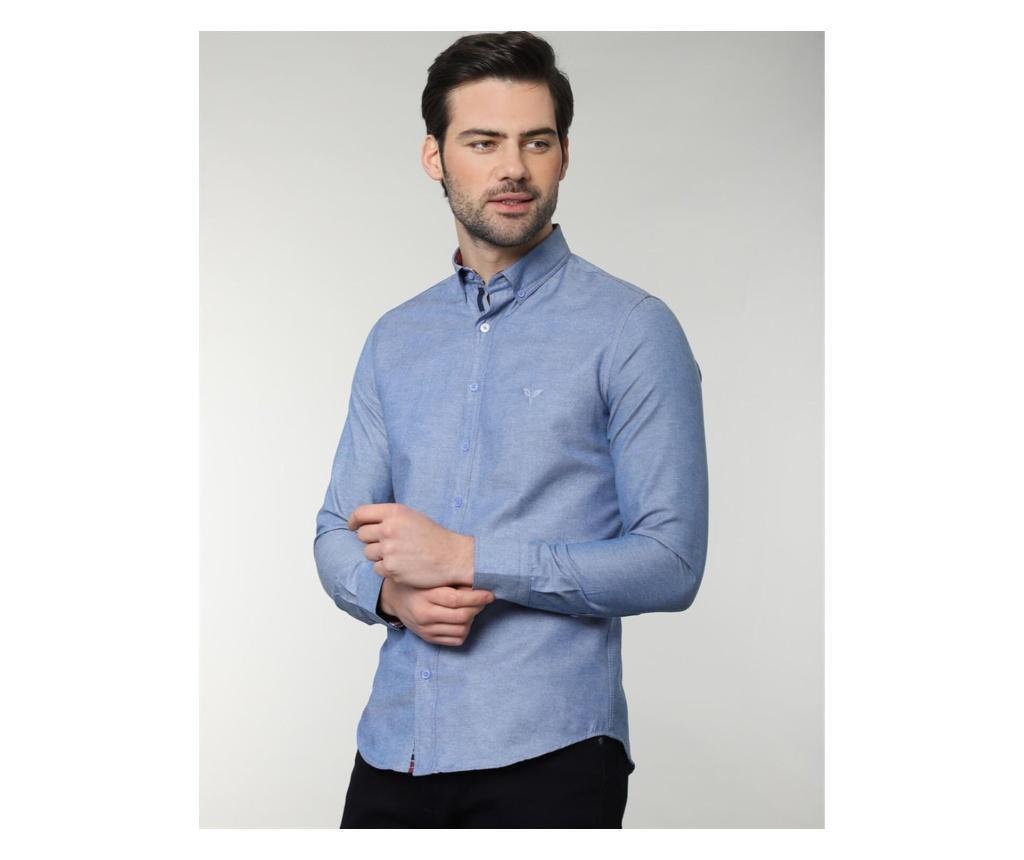 Camasa barbati Slim Fit XL, Tudors, 65% bumbac, albastra