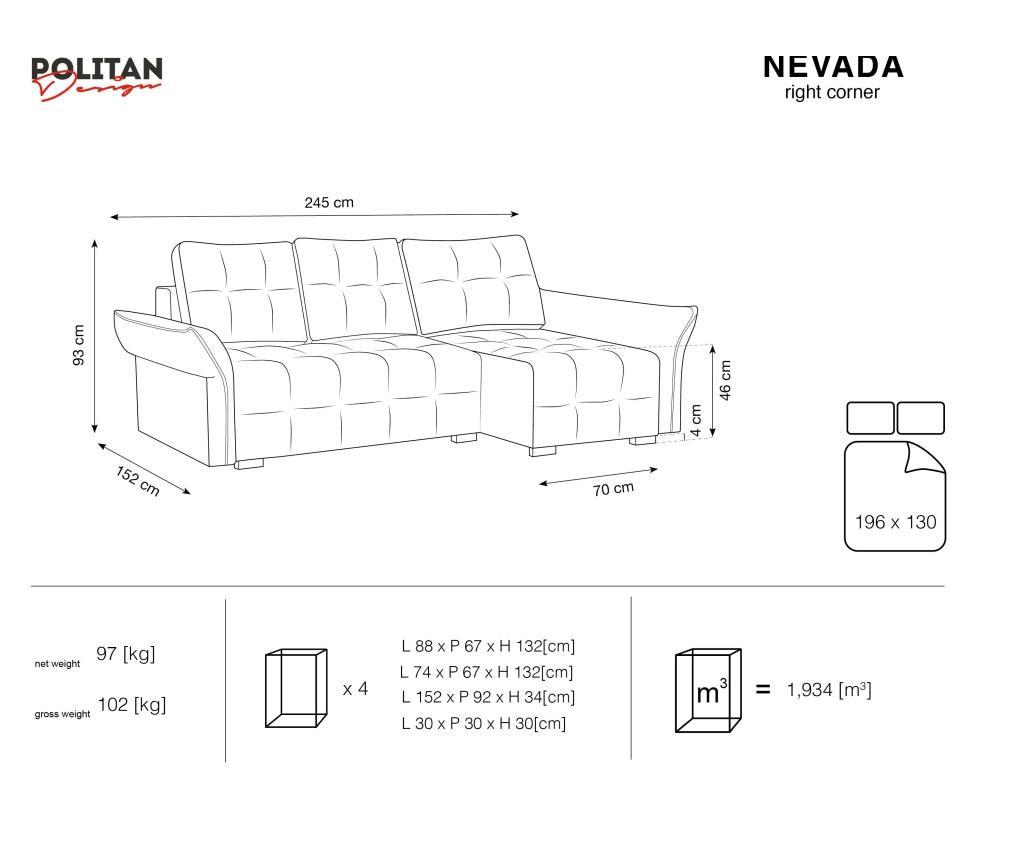 Rozkládací rohová pohovka pravostranná Nevada Yellow