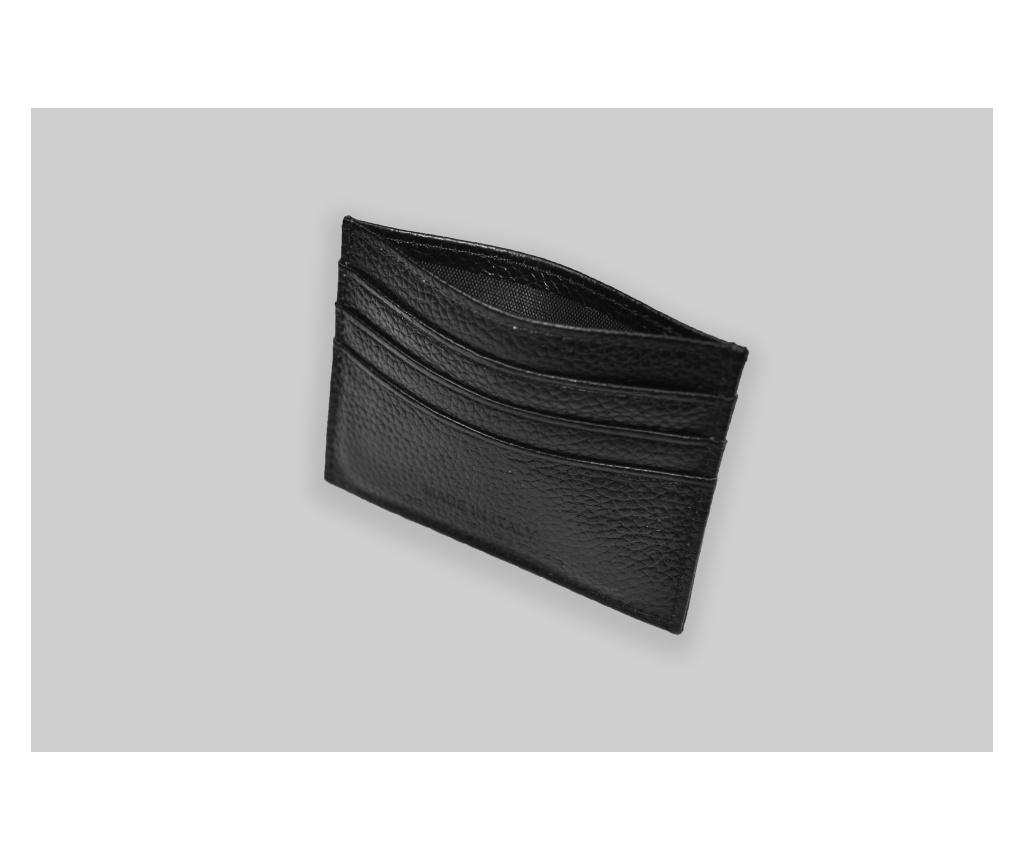 Portcard negru piele naturala slim 6 compartimente