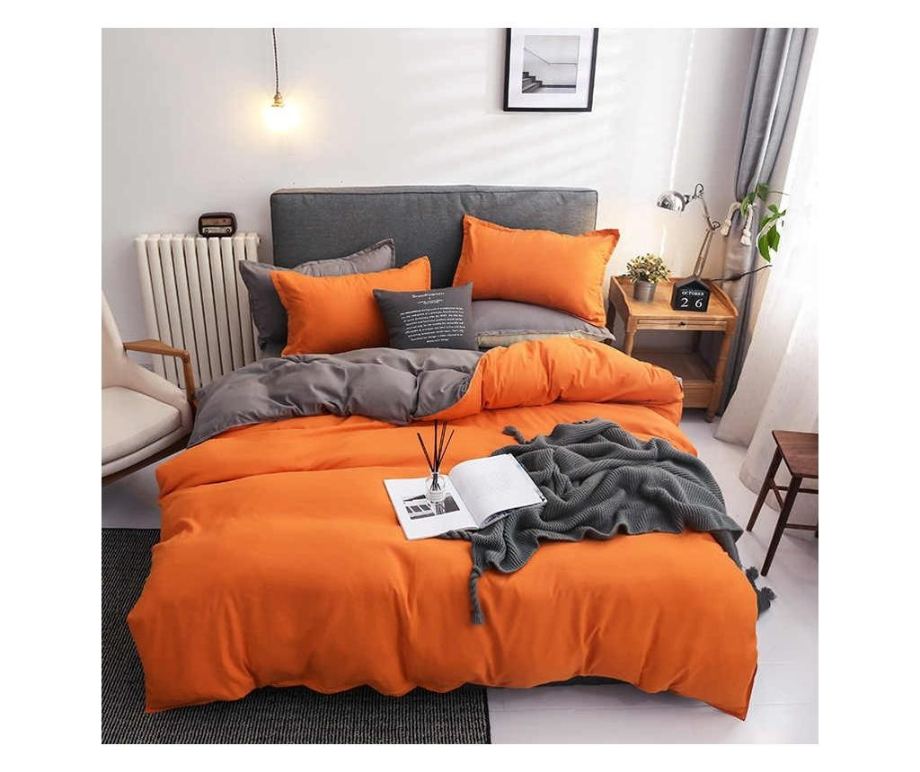 Lenjerie de pat Double Ranforce Orange Gray Rectangular