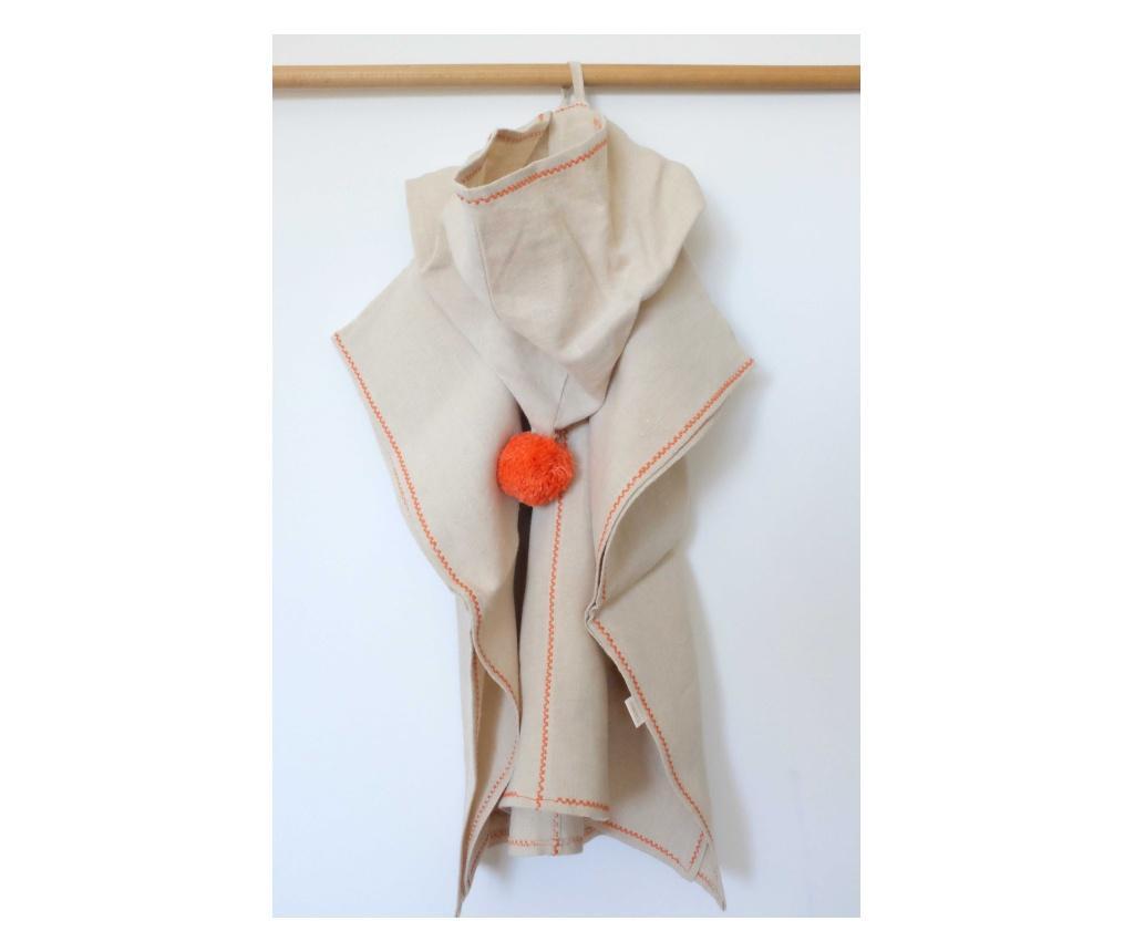 Kender kapucnis poncsó, natúr-narancs (RokkaDesign)