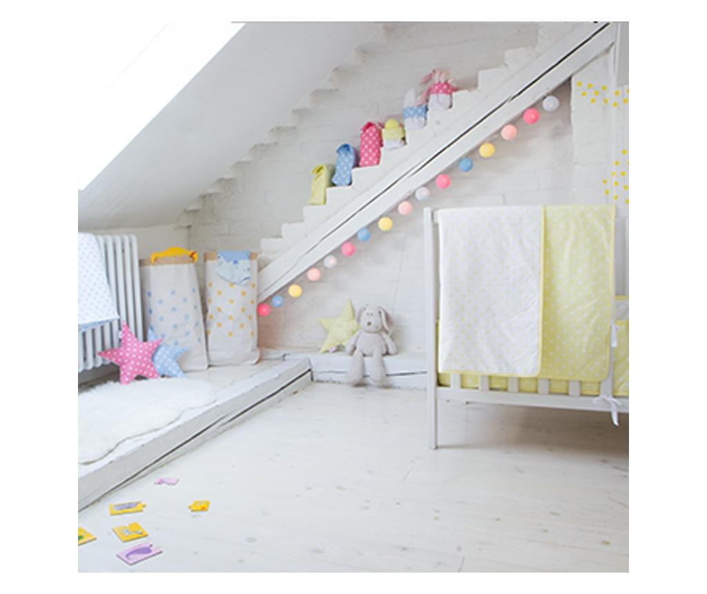 Sárga-pink-kék gömblámpa füzér (Cotton Ball Lights)