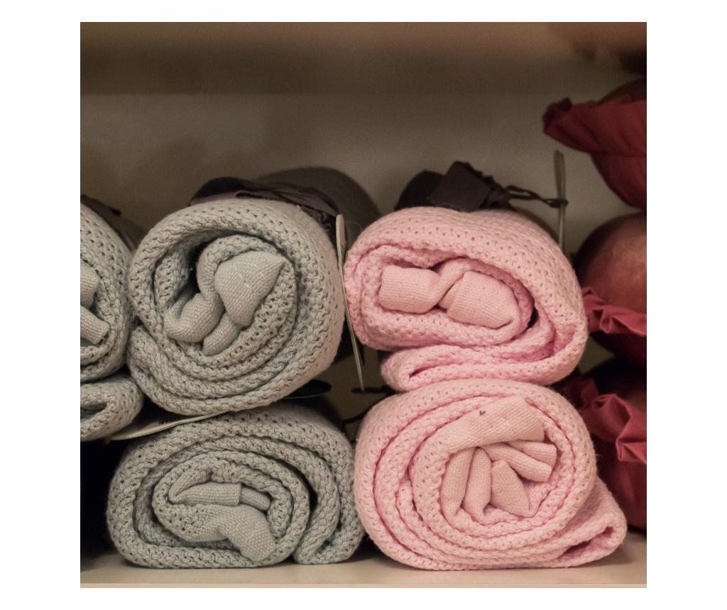 Organikus kötött takaró (vékony), babarózsaszín (Vinter&Bloom)