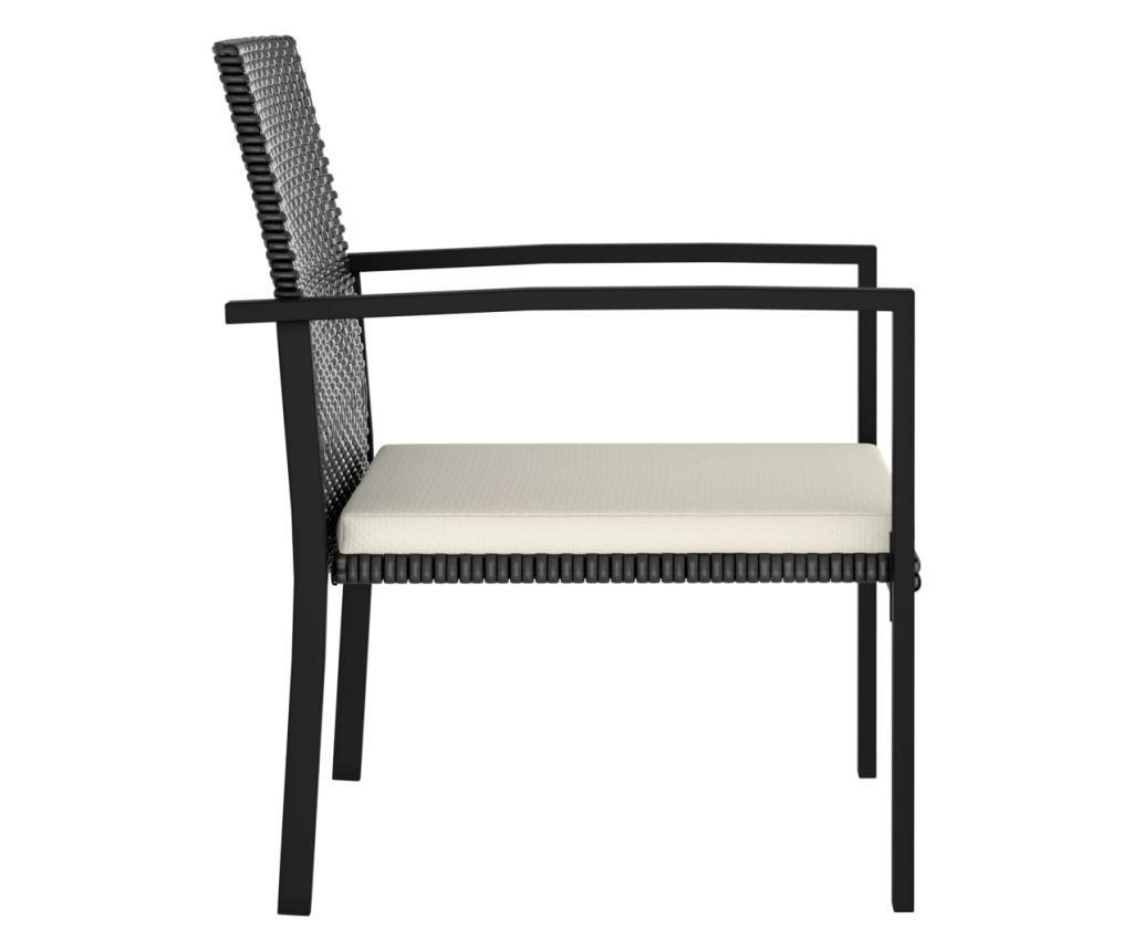 Krzesła ogrodowe, 2 szt., rattan PE, czarne