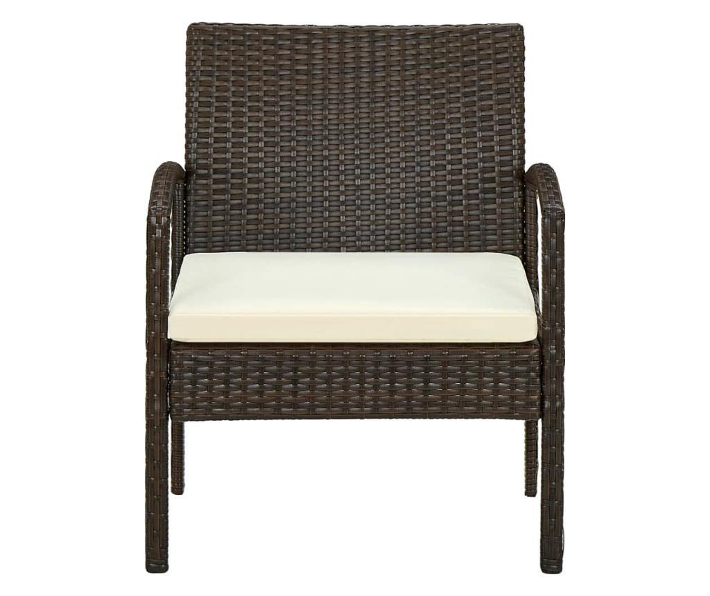 Krzesło ogrodowe z poduszką, polirattan, brązowy