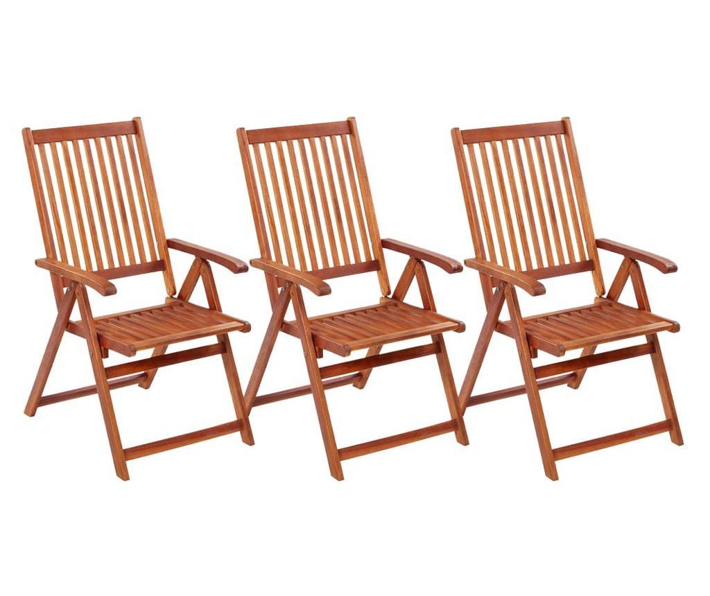 Składane krzesła ogrodowe, 3 szt., lite drewno akacjowe