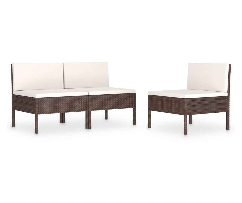 Krzesła ogrodowe z poduszkami, 3 szt., polirattan, brązowe