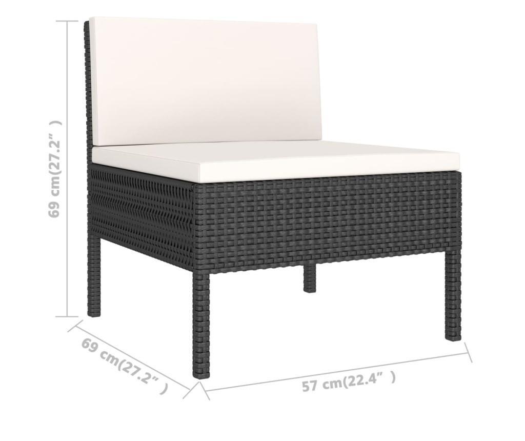 Krzesła ogrodowe z poduszkami, 3 szt., polirattan, czarne