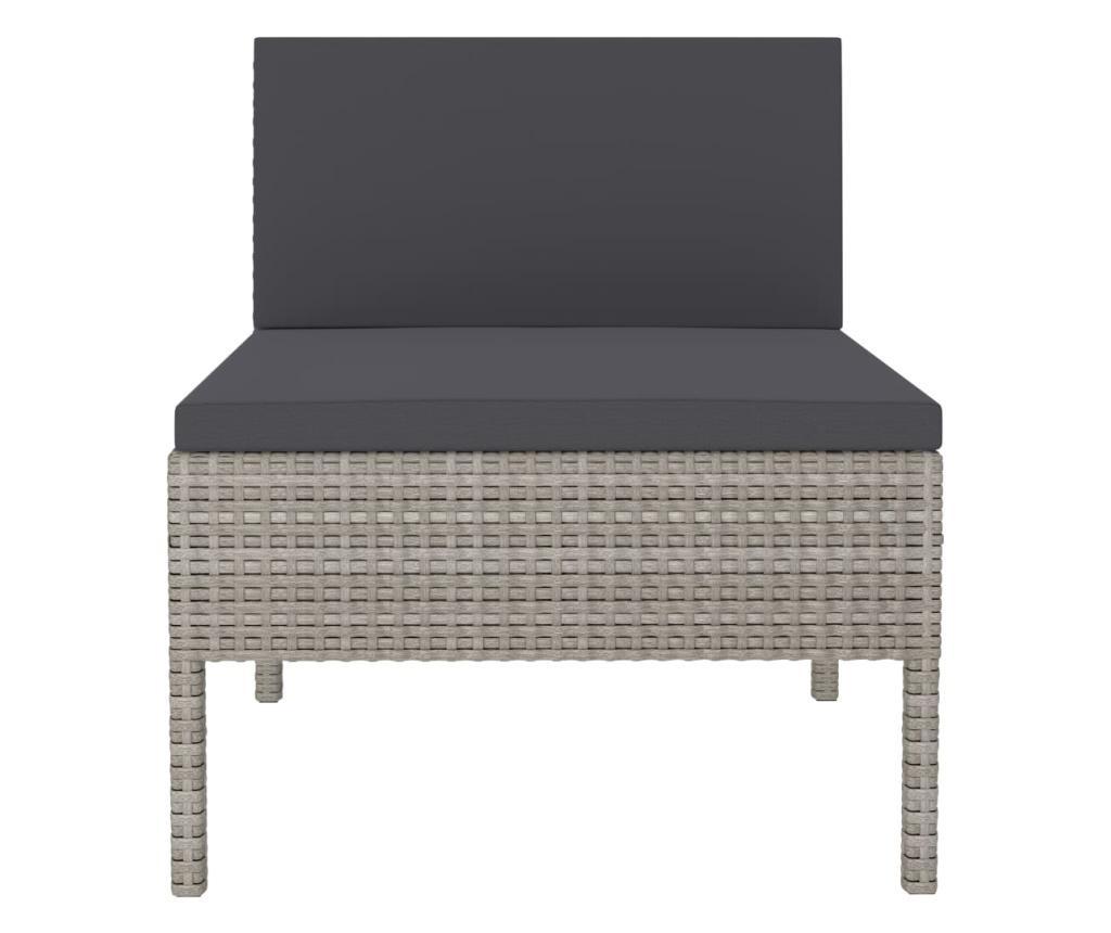Krzesła ogrodowe z poduszkami, 3 szt., polirattan, szare