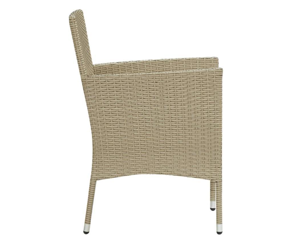 Krzesła ogrodowe, 2 szt., polirattan, beżowe