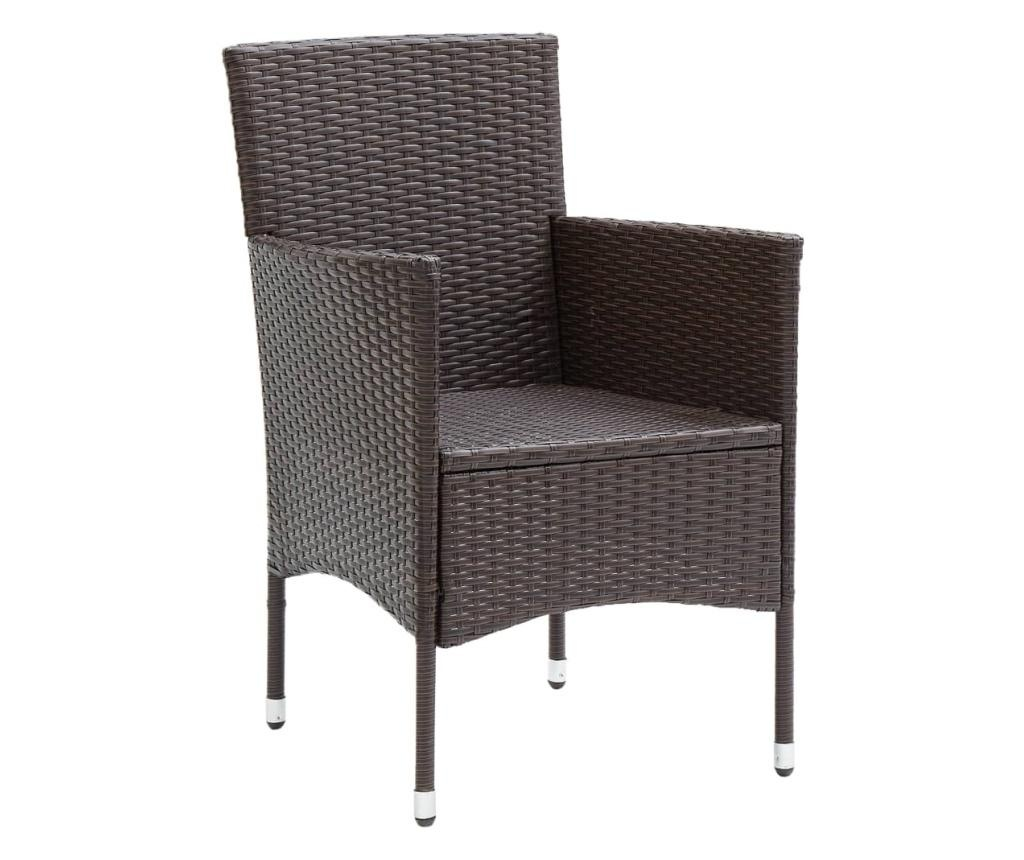 Krzesła ogrodowe, 2 szt., polirattan, brązowe