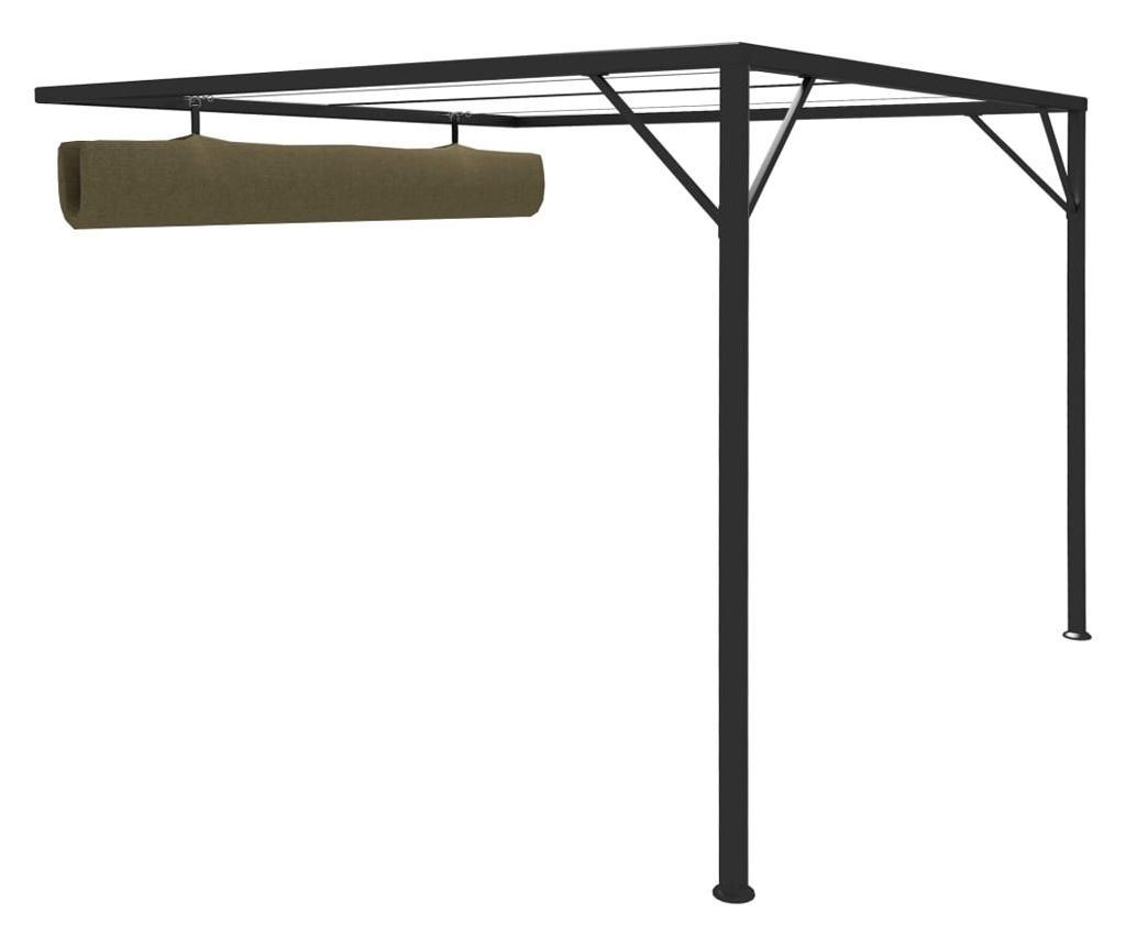 Altana przyścienna ze zwijanym dachem, 3x3 m, taupe, 180 g/m²