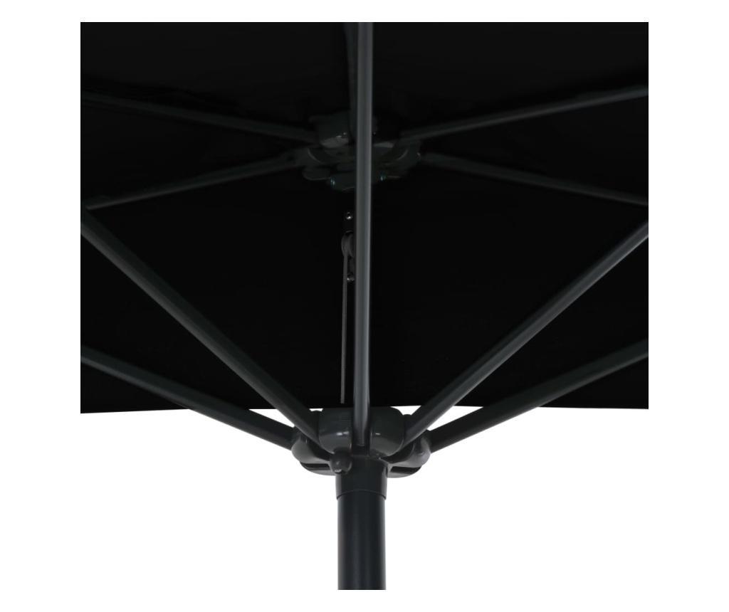Półparasol balkonowy, aluminiowy słupek, czarny, 270x135x245 cm