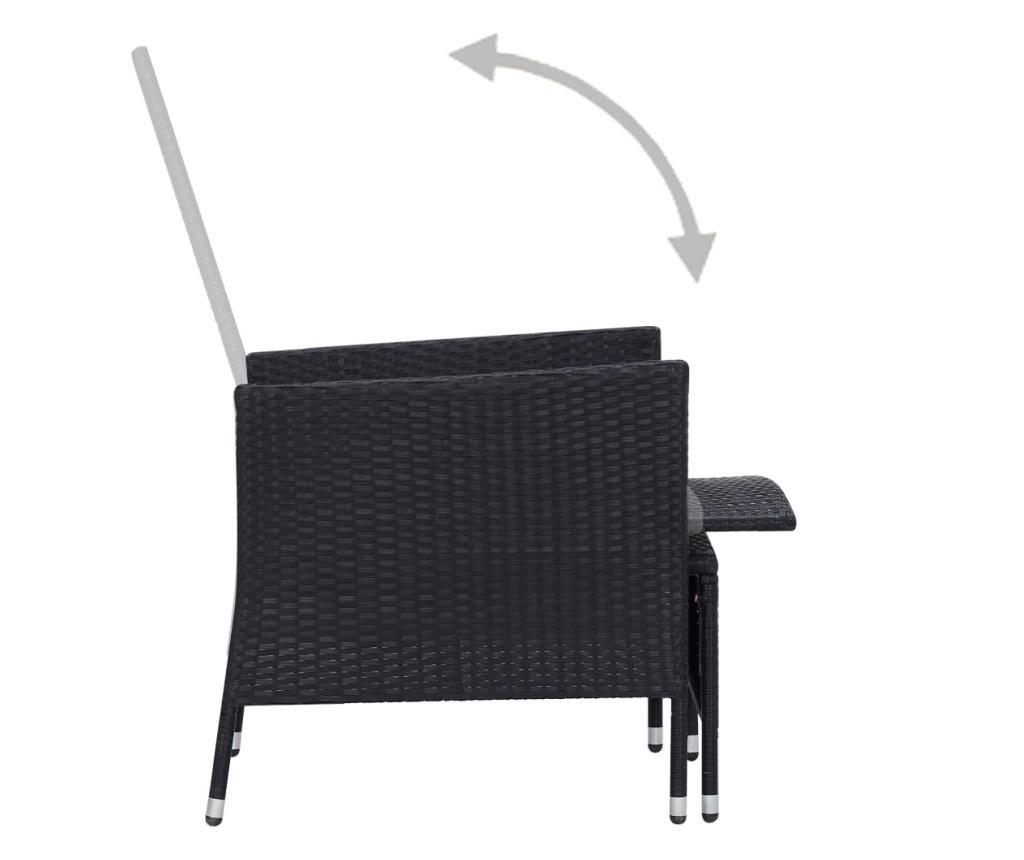 Rozkładane krzesło ogrodowe z poduszkami, czarny polirattan