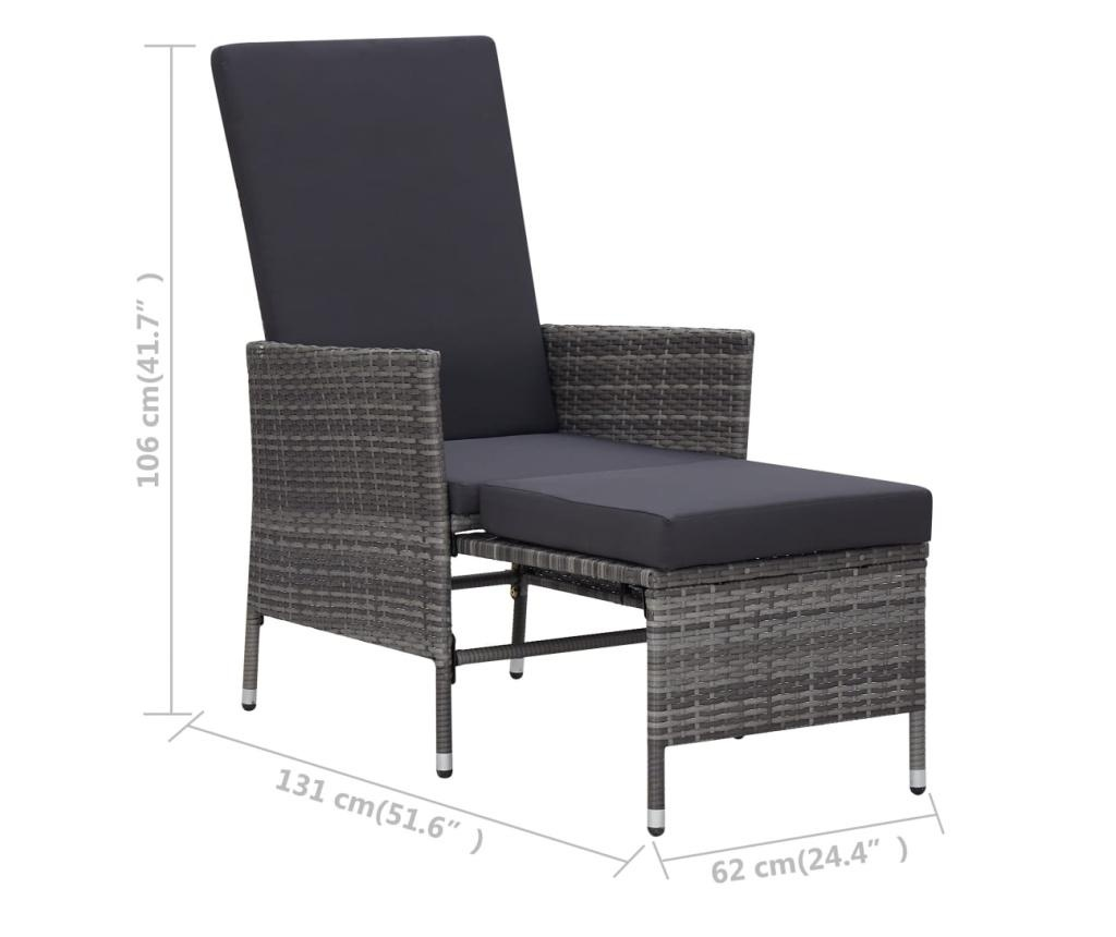Rozkładane krzesło ogrodowe z poduszkami, szary polirattan