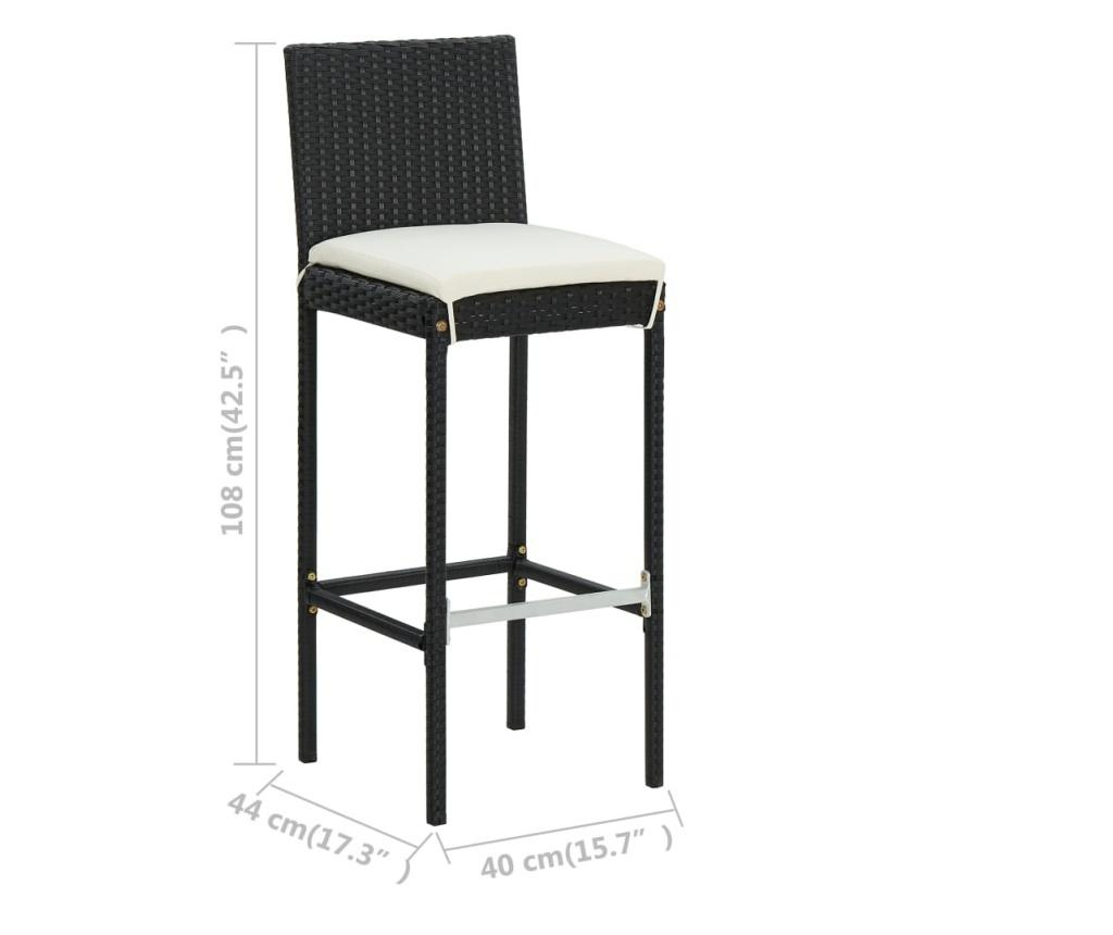 Ogrodowe stołki barowe z poduszkami, 2 szt., czarne, polirattan
