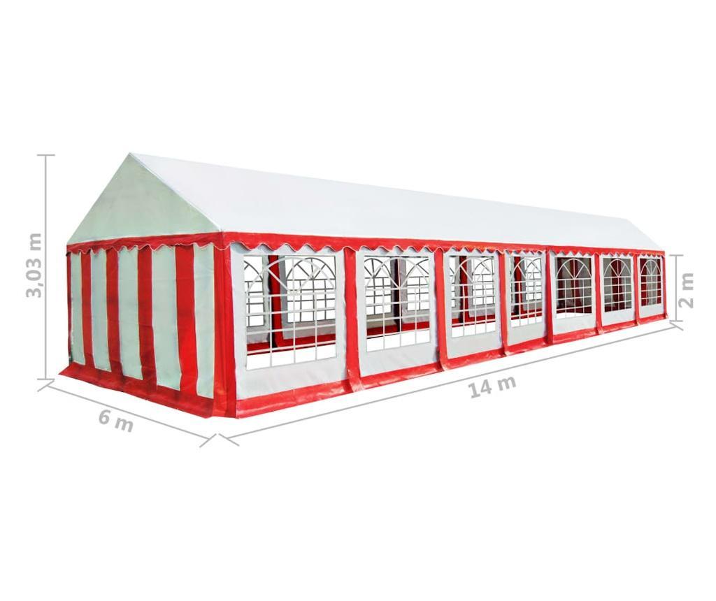 Namiot ogrodowy z PVC, 6 x 14 m, czerwono-biały