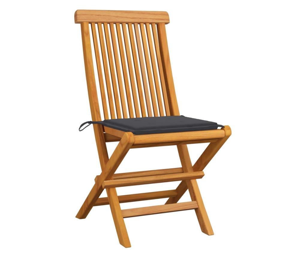 Krzesła ogrodowe, antracytowe poduszki, 4 szt., drewno tekowe