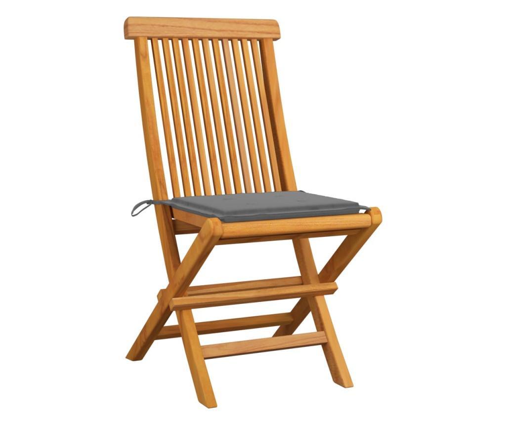 Krzesła ogrodowe, szare poduszki, 4 szt., lite drewno tekowe
