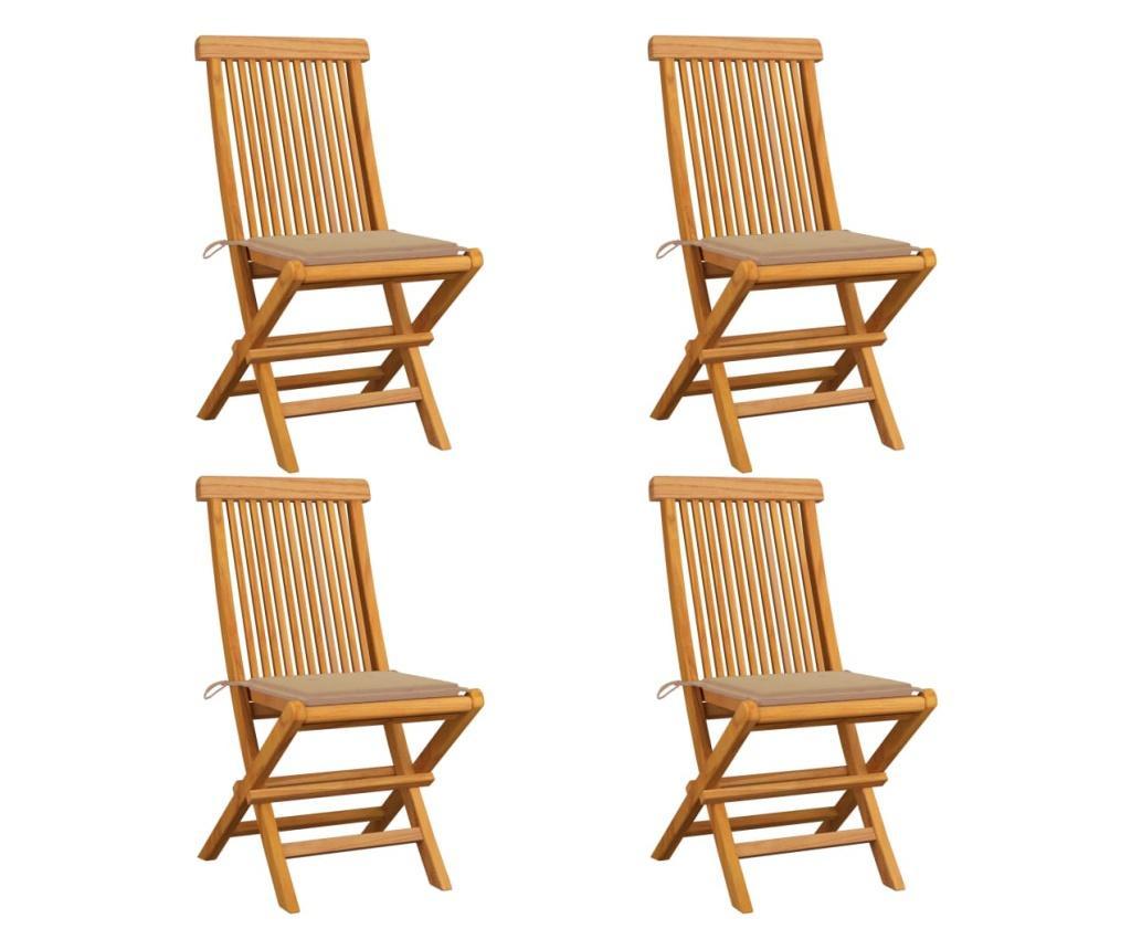 Krzesła ogrodowe, beżowe poduszki, 4 szt., lite drewno tekowe