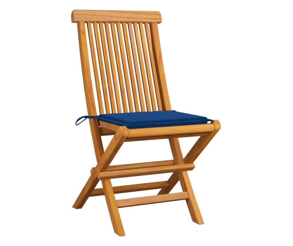 Krzesła ogrodowe, niebieskie poduszki, 4 szt., drewno tekowe
