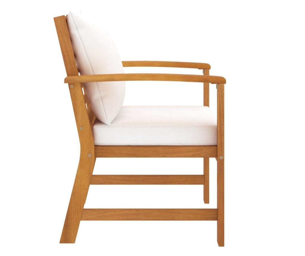 Krzesła ogrodowe, 2 szt., kremowe poduszki, drewno akacjowe