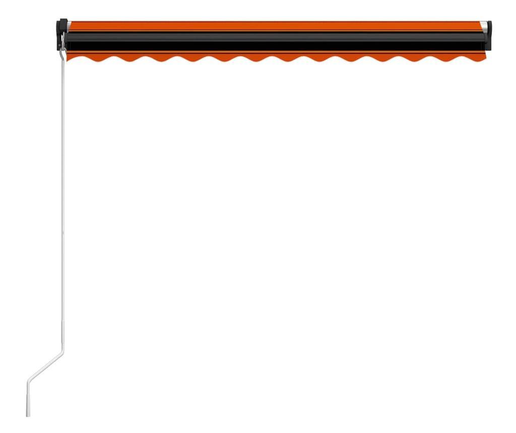 Copertina retractabila manual LED, portocaliu/maro, 350x250 cm
