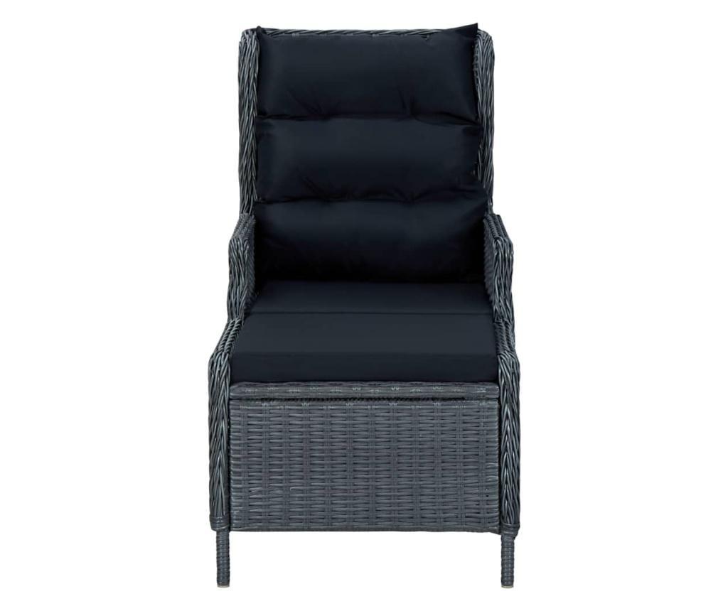 Rozkładane krzesło ogrodowe, podnóżek, polirattan, ciemnoszare