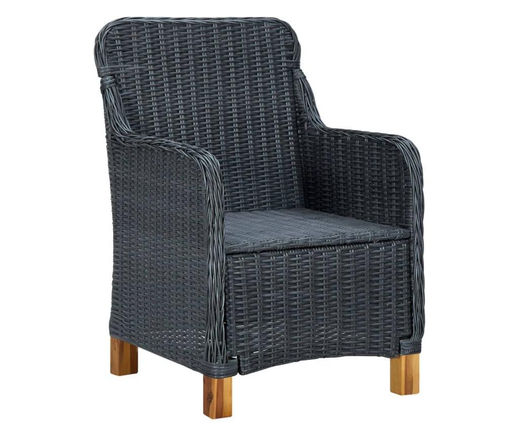 Krzesła ogrodowe z poduszkami, 2 szt., polirattan, ciemnoszare