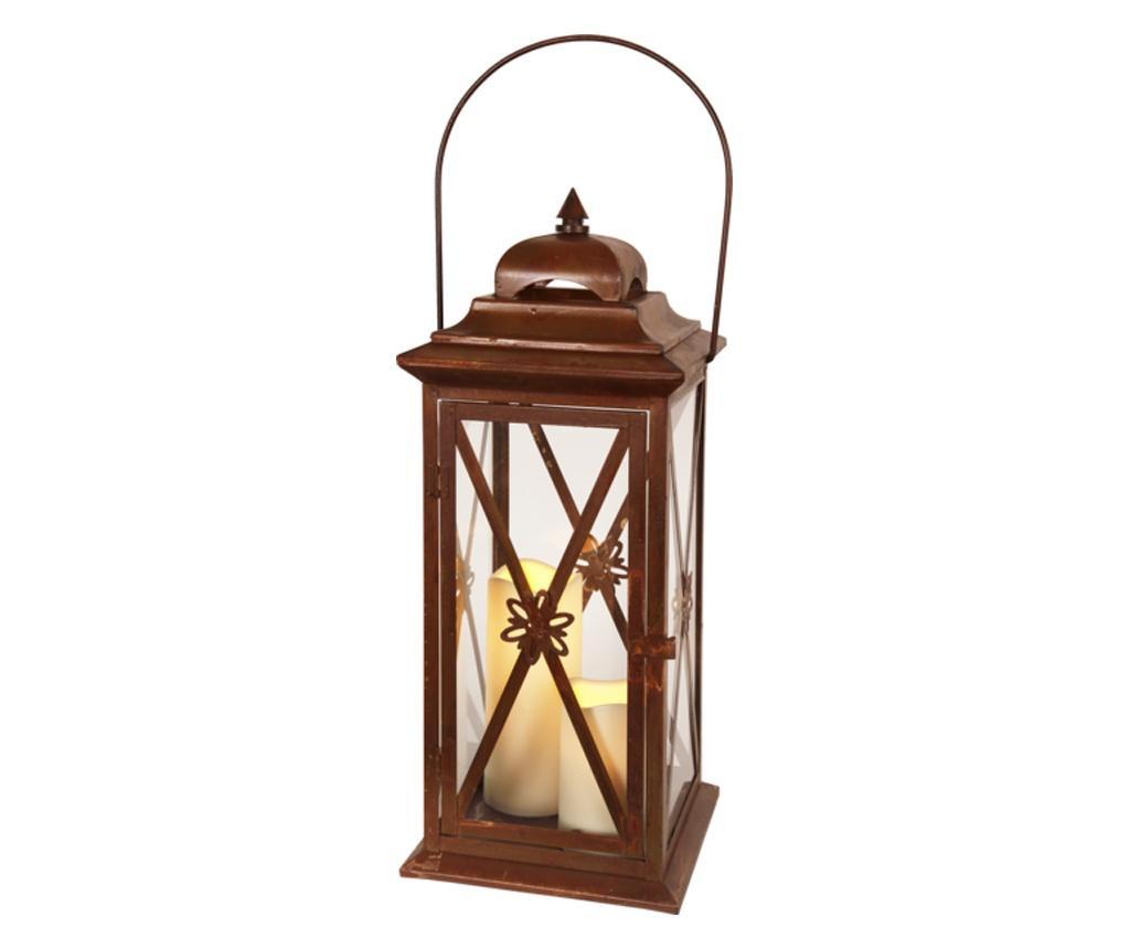 Latarnia zewnętrzna z 2 świeczkami LED Rust