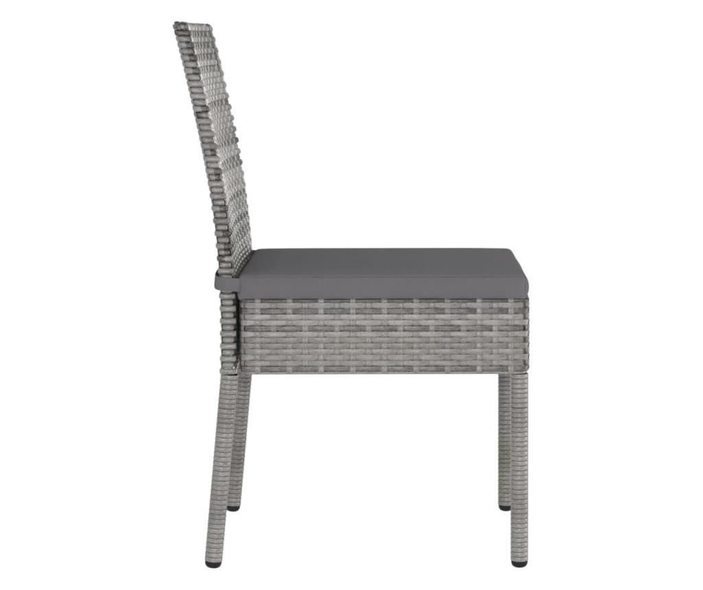 Krzesła ogrodowe, 2 szt., polirattan, szare