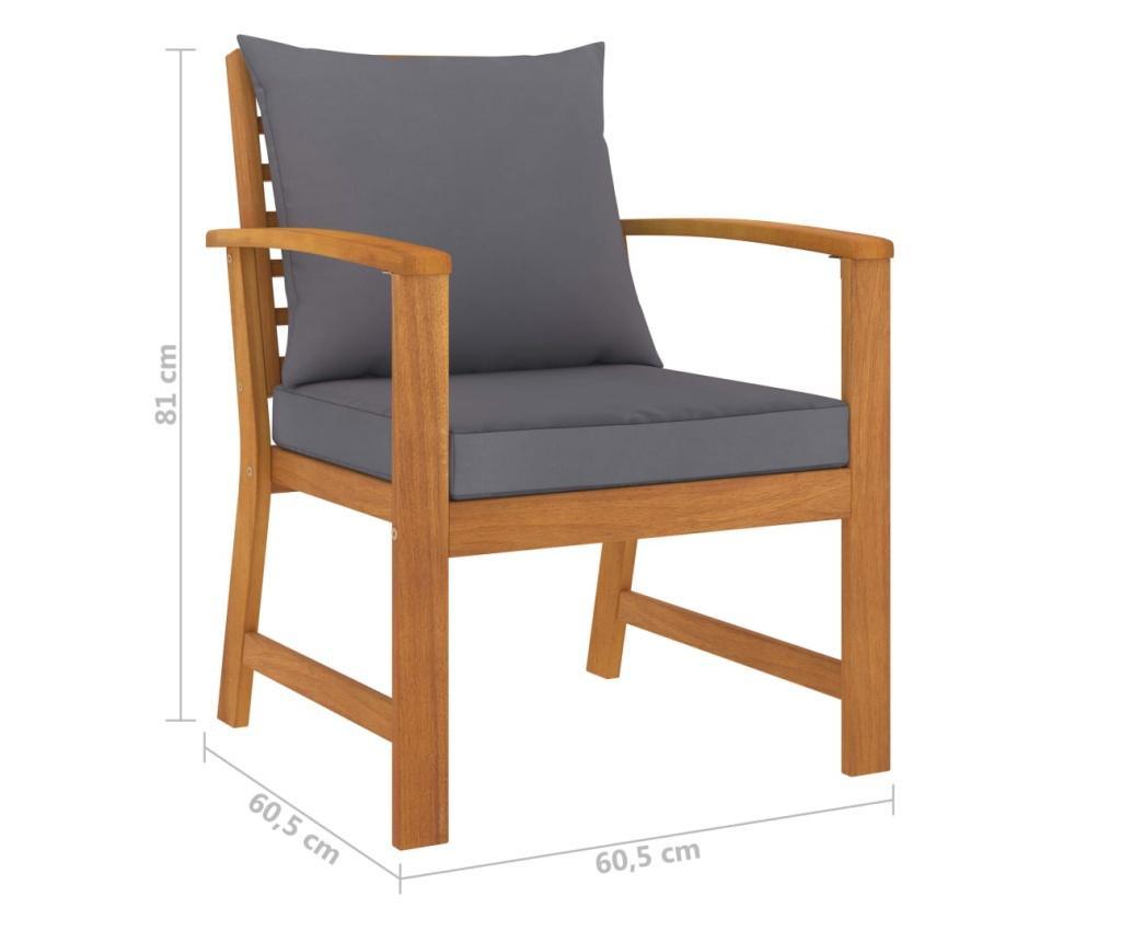 Krzesła ogrodowe, 2 szt., ciemnoszare poduszki, drewno akacjowe