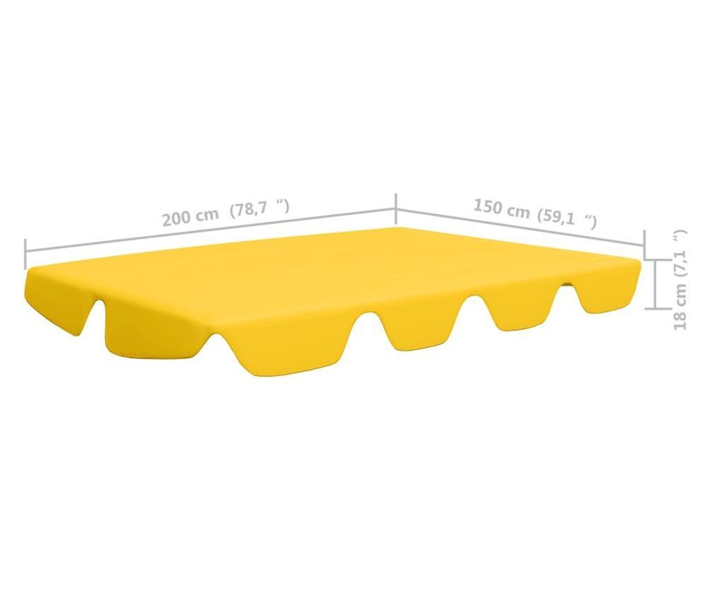 Zadaszenie do huśtawki ogrodowej, żółte, 226x186 cm, 270 g/m²