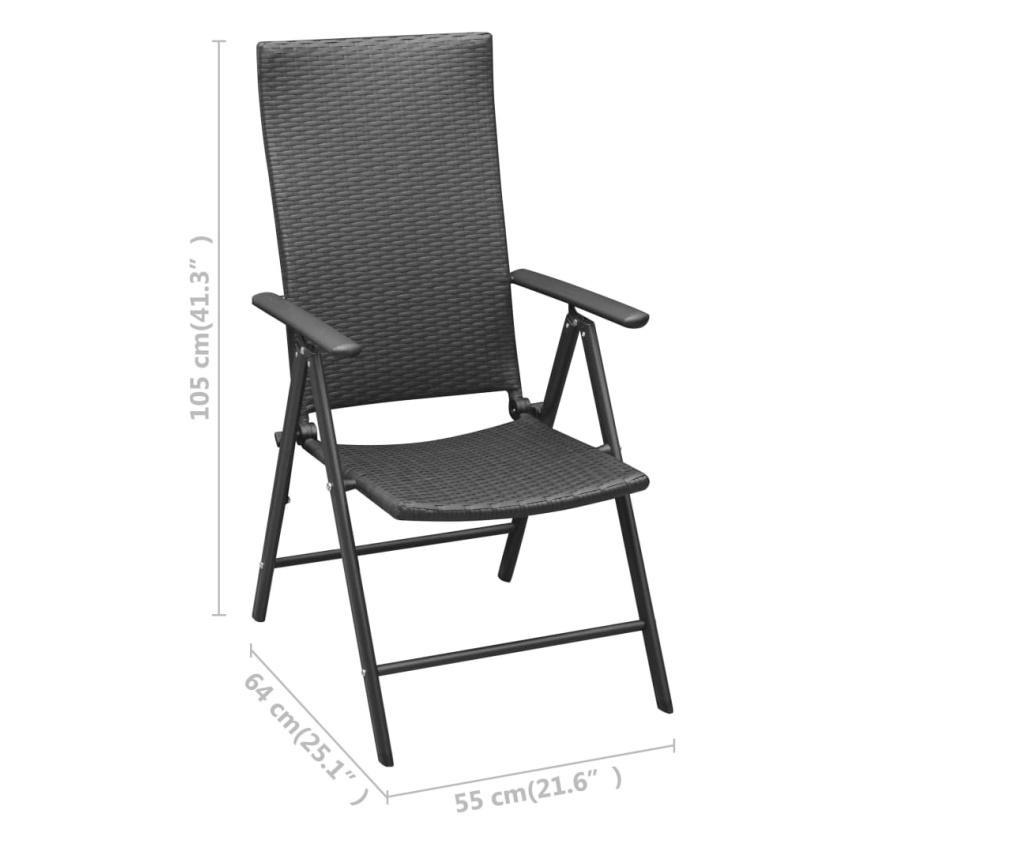 Krzesła ogrodowe, 4 szt., polirattan, czarne