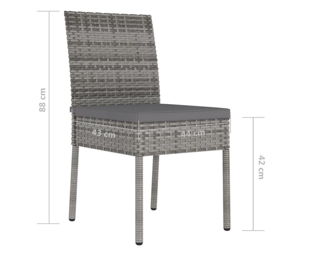 Krzesła ogrodowe, 4 szt., polirattan, szare