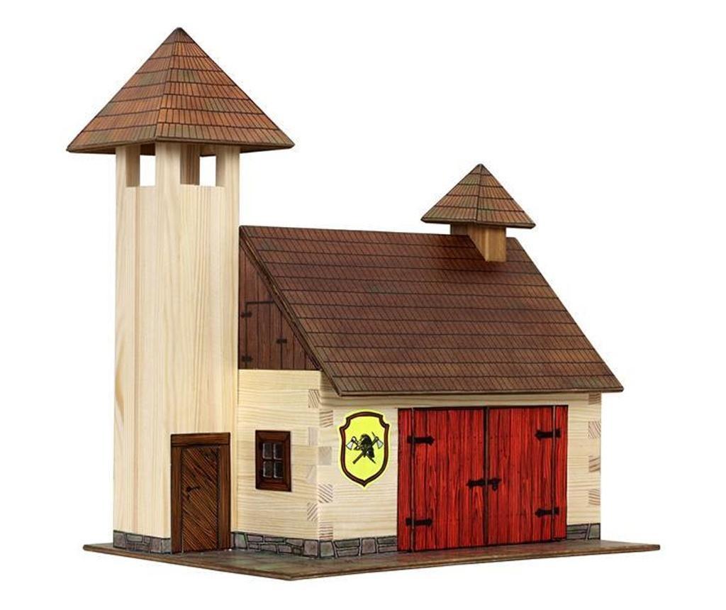 Set constructie arhitectura Statie de pompieri, 128 piese din lemn, Walachia